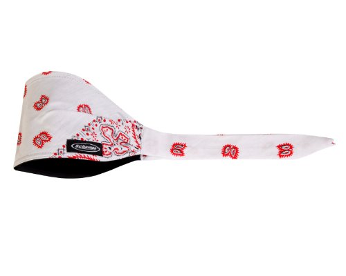 Schampa White Ground Old School Bandana (Red/Black Paisley, One Size)