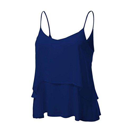 Doble Candy Mujeres Tops Azul Shobdw Mangas Sin Cosecha Blusa Camiseta Sexy Color Halter Gasa Tanque Chaleco UTXTRgHq