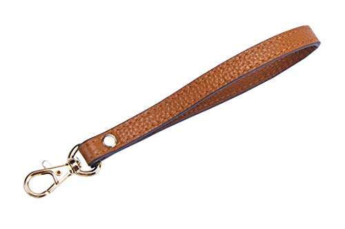 SeptCity Wristlet KeyChain Cellphone Leather Hand Strap with Golden Lock(Brown)