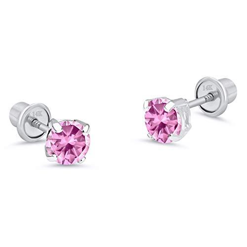 14k White Gold 5mm Basket Pink Round Cubic Zirconia Children Screw Back Baby Girls Earrings]()