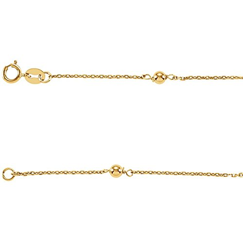 Girls Bracelet In 14K Yellow Gold With 7 Round Beads by Eternity Wedding Bands