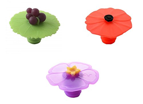 Charles Viancin Bottle Stopper - Grape, Poppy and Purple Hibiscus, Set of 3