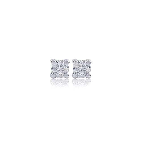 Euforia Jewels IGI Certified 14K White Gold 0.15 Carats Natural Diamonds (SI-I1 Clarity/F-I Color) Round Full Cut Earring With Silver Silicon Post