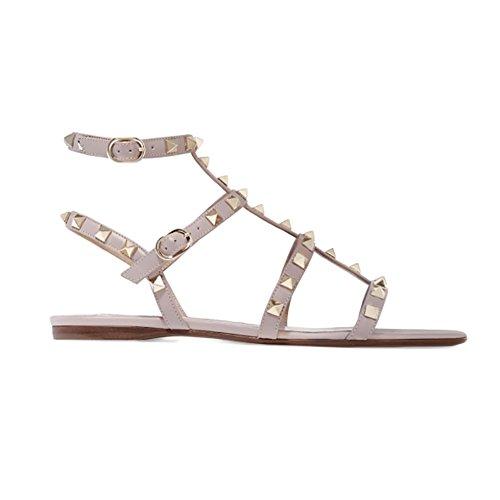 - MERUMOTE Women's Rivets Studs Strap Natural Flats Summer Daily Buckle Flat Sandals178-Natural 8 US