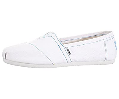 TOMS Womens Classic Canvas Slip On Casual Shoes, White, US 6