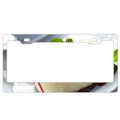 Customized Personalized License Plate Frame,Cheesecake Cherry Jam Mint Car License Plate Cover for US License Tag,Aluminum Metal Auto License Tag Holder(6