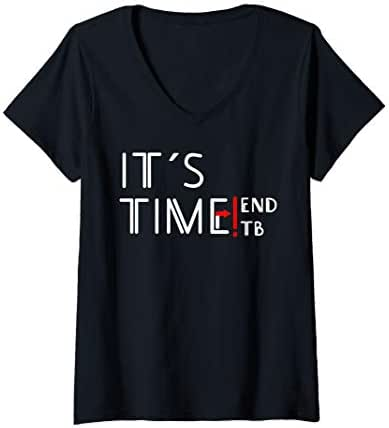 Womens End TB T-Shirt, World TB Tuberculosis Day Awareness | V-Neck T-Shirt