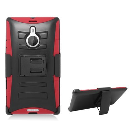 Aimo Wireless Armor Case with Belt Clip and Stand for Nokia Lumia 1520 - Retail Packaging - Red/Black