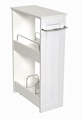 Zenna Home 9227WWBB, Slimline Rolling Storage Shelf, White