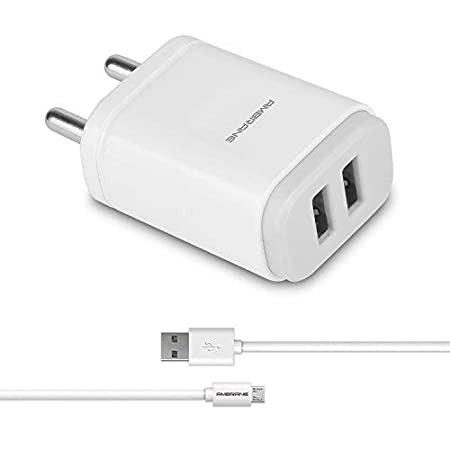 Ambrane AWC-22 2.1A Dual Port Fast Wall Charger + Free Micro USB Cable - (White)