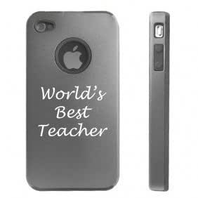 Apple iphone 4 4S Silver Gray DD2021 Aluminum & Silicone Case Cover World's Best Teacher
