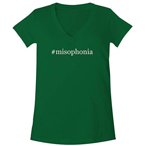 The Town Butler #Misophonia - A Soft & Comfortable Women's V-Neck T-Shirt, Green, Medium
