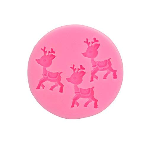Macerdonia Bakeware & Accessories - Christmas Deer Decorating Fondant Mold Silicone Cake Mould Animal Shape Baking Tools - Day Form Noel Stamp Christmastide Forge Modeling Christmastime Model