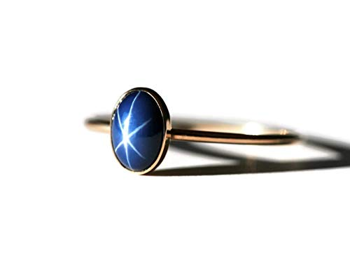 Size 8 Oval Created Blue Star Sapphire and 14K Gold Filled Skinny Ring
