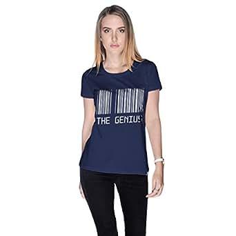 Creo Blue Cotton Round Neck T-Shirt For Women
