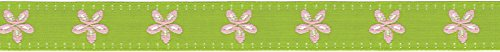 Offray Jacquard Daisy Craft Ribbon, 5/8-Inch x 9-Feet, Lime & Pink
