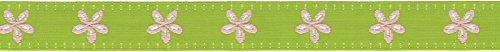 Offray Jacquard Daisy - Cinta para Manualidades, Rosado, Lima, (Lime & Pink), 5/8 Inch x 9 Feet, 1