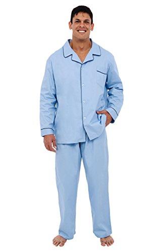 (Alexander Del Rossa Men's Lightweight Button Down Pajama Set, Long Cotton Pjs, 3XL Light Blue (A0714LBL3X))