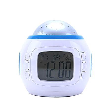 LHY FAN Reloj Despertador Proyector,Calendario con Temperatura ...