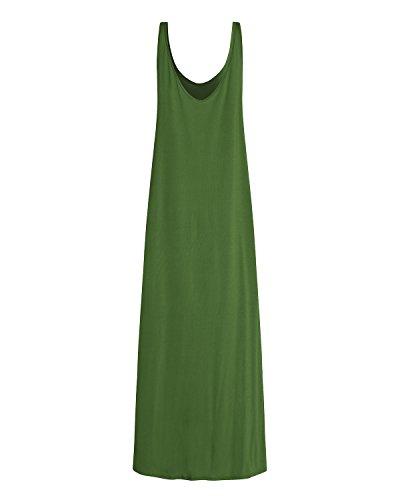 Fluide olive Femme Soire Robe Uni Longue X V Col de Kidsform Plage Bretelle Et Fine Sexy Cocktail 7xBTaOwd4q