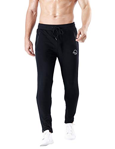 Pants Soccer Training (QRANSS Men's Athletic Pants Soccer Training Running Pants Casual Gym Fitness Trousers (Black, Small))