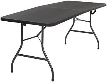 Fine Cosco Deluxe 6 Foot X 30 Inch Fold In Half Blow Molded Folding Table Black Machost Co Dining Chair Design Ideas Machostcouk