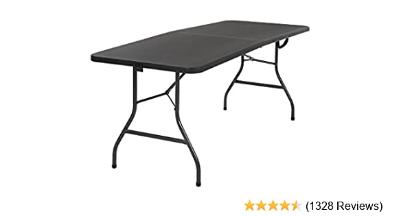 Amazon.com: Cosco Deluxe 6 Foot X 30 Inch Fold In Half Blow Molded Folding  Table, Black: Kitchen U0026 Dining