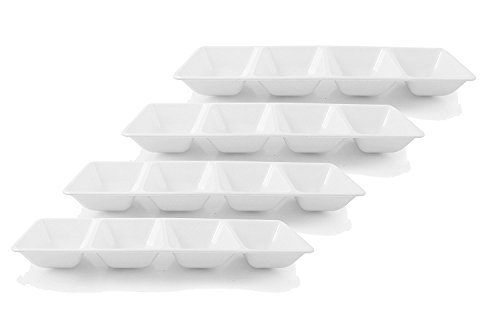 Party Bargains Sectional Rectangle Plastic Serving Tray | Excellent for Weddings, Buffets, Dinner, and Birthday Parties | 5 x 16 Inches | White (4 Pk)
