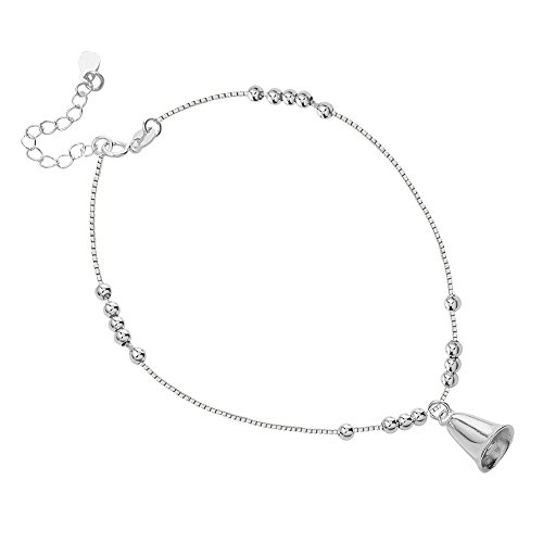 Rhodium Plated Sterling Silver Sterling Silver Classic Ball Bead & Dangle Wedding Bell Charm Anklet