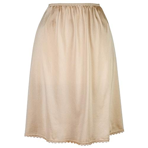 Valair Women's Classic Half Slip Skirt Dress Ladies Girls - Slight Flare - Anti Static Nude ()