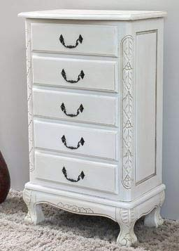 Jewelry Armoire - White Wood Five Drawer Free Standing - Cozy Home of Your Jewels ()