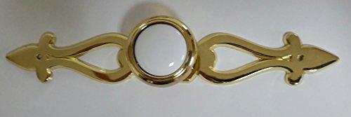 Polished Brass White Ceramic Knob with Fleur De Lis Backplate (2 Pack)