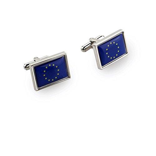 Acero inoxidable pulido Gemelos con caja de regalo para gemelos–Bandera europea