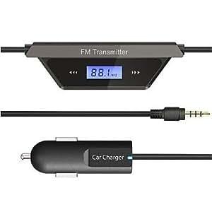 "GD FM-190 0.5 ""LCD 206-CH transmisor FM radio de coche con mando para el iphone - Negro (9 ~ 26V)"
