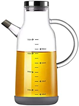 NORTHOME Olive Oil Dispenser Glass Bottle Cruet 25 oz Lead-Free with Stainless Steel lid and Vinegar Bottles for Kitchen Cooking Container set 1pcs (25oz, Metal Lid)