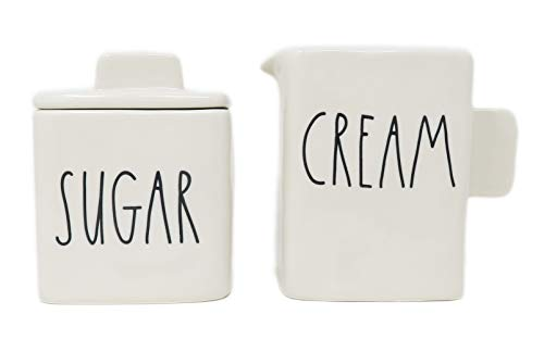 Rae Dunn By Magenta 2 Piece SUGAR & CREAM Ceramic LL Square Sugar Bowl & Creamer Set
