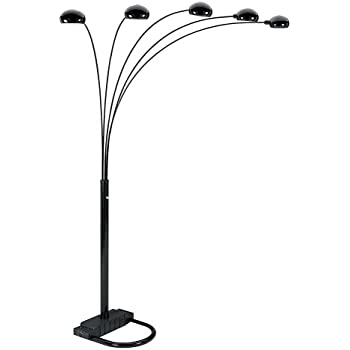 Ore International 6962sn 5 Arm Arch Floor Lamp With Dimmer Nickel Stand Light For Living Room