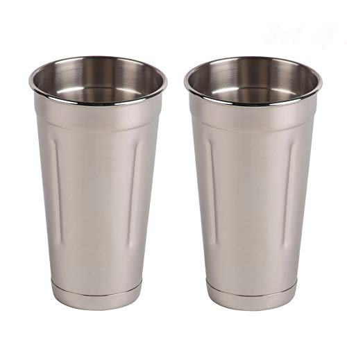 (Set of 2) 30 oz Stainless Steel Malt Cup by Tezzorio, Professional Blender Cup, Milkshake Cup, Cocktail Mixing Cup, Commercial Grade Malt Cups