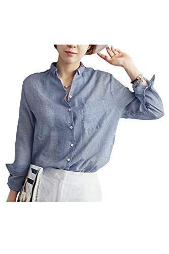 Boutonnage Bleu Chemise Longues Manches Simple Dcontract Jeune Bouffant Femme Mode Tops Style Office Blouse Shirt Spcial Manche Revers Automne Haut Printemps lgant Uni wXrqXBE