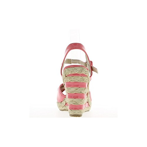 Sandales compensées femme roses vernies talon de 11cm et plateau