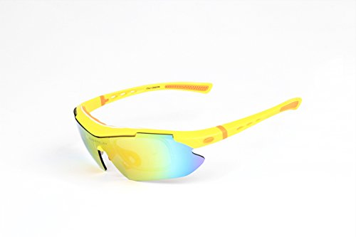 Polarized Sports Sunglasses Cycling Baseball Running Fishing Driving Golf Hiking Biking Outdoor Glasses with 5 Interchangeable Lenses Motorcycle Bicycle Riding Goggles for Men Women (yellow & orange) by LOVE'S (Image #1)