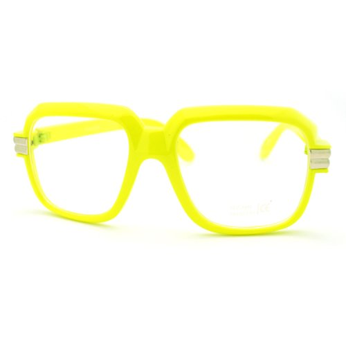 Yellow Oversized Square Clear Lens Glasses Hip Hop Party Fashion - Sunglasses Hip Hop