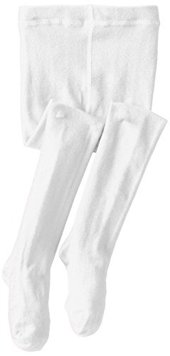 Jefferies Socks Little Girls'  Seamless Organic Cotton Tights, White, 2-4 Years -