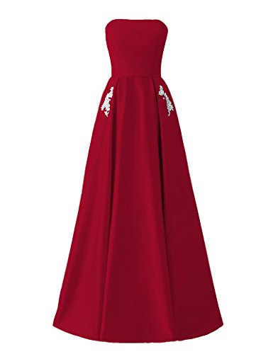 Beaded Strapless Prom Dress - Libaosha Satin Strapless Formal Gowns With Beaded Pockets Lace Up Back Prom Dresses Long (US2, Burgundy)