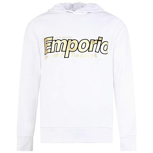 Emporio Armani Cotton Overhead Embroidered Logo White Hoodie