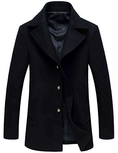 chouyatou Men's Classic Notched Collar Double Breasted Wool Blend Pea Coat (Large, Single-Navy Blue)