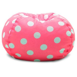 BeanSack Polyester Polka-dot Pink Bean Bag Chair with Double zippers Closure and 28 inches Diameter