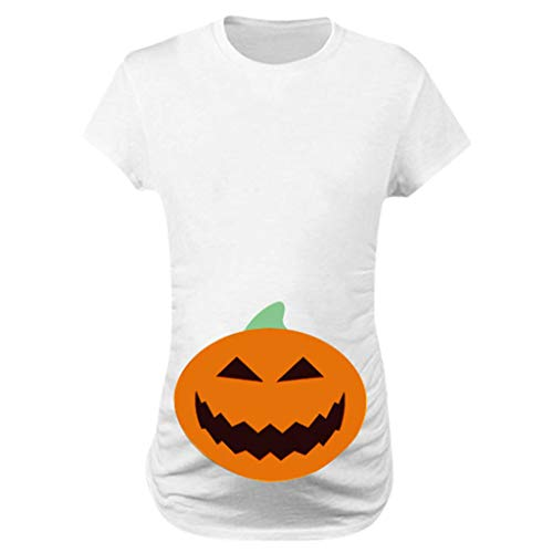Women Maternity Shirt,Crytech Pregnant Long Short Sleeve Funny Pumpkin Face Smile Print Side Ruched T-Shirt Pregnancy Tee Round Neck Tshirt for Expecting Mom Halloween Clothes (Large, White)