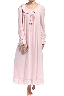 Latuza Women's Long Sleeve Cotton Nightgown