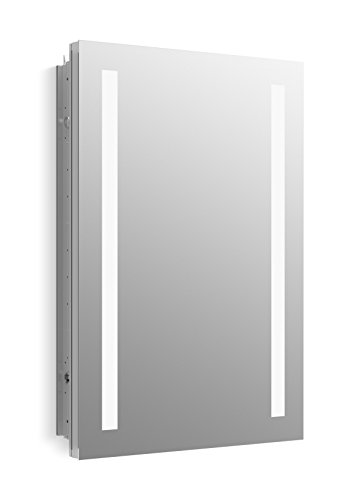 KOHLER K-99003-TL-NA Verdera 20 inch x 30 inch LED Lighted Bathroom Medicine Cabinet, Slow Close Hinge; Internal Magnifying Mirror; Aluminum; Recess or Surface Mount